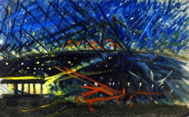 Джозеф Стелла. Ночной вид на Бруклинский мост. 1918