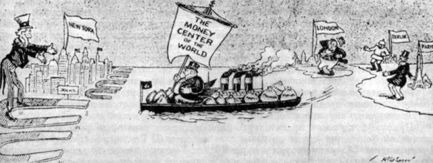 Американские магниты и европейское золото. Карикатура