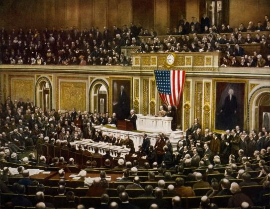 Вудро Вильсон просит Конгресс объявит войну Германии. 2 апреля 1917