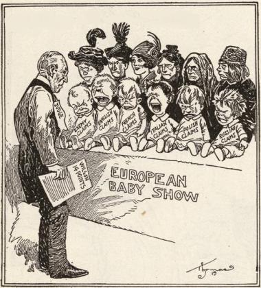 Берт Реннольоф Томас. 14 пунктов Вильсона. Карикатура. 1919