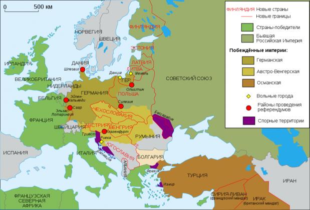 Территориальные изменения в Европе после Первой мировой войны