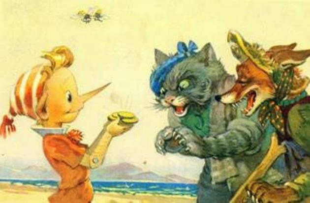 Буратино, лиса Алиса и кот Базилио. Иллюстрация Леонида Владимирского к изданию 1956 года