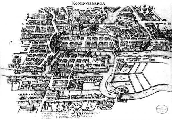 Карта Кёнигсберга. 1652 год