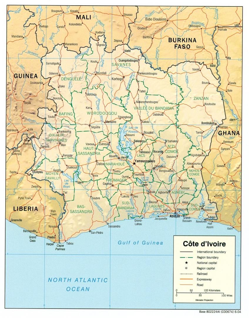 Карта Кот-д'Ивуара