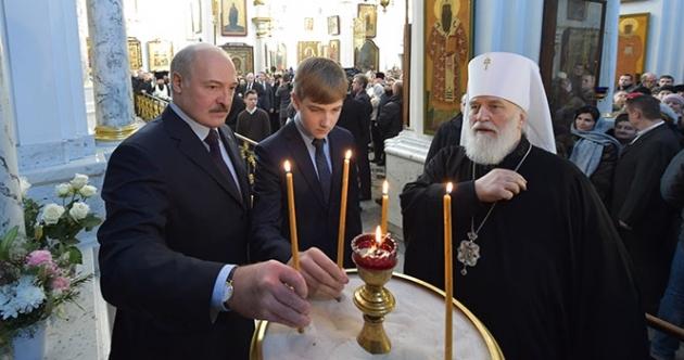 Александр Лукшенко в храме