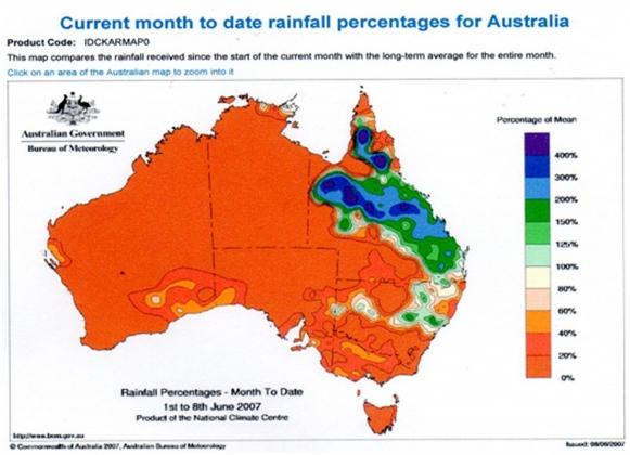 Рис. 7. Распределение осадков на территории Австралии в 2007 году