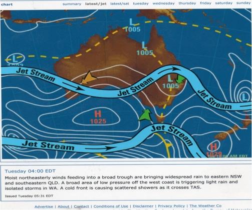 Рис. 9. Деформация осей струйных течений над Австралией в результате активных воздействий рядом с г.Бундабергом (05.02.2008)