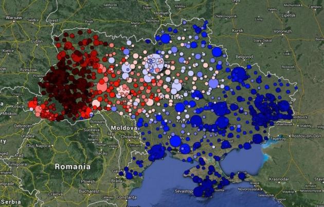 Визуализация языковых данных социальной сети «ВКонтакте». Русский — синий. Украинский — красный