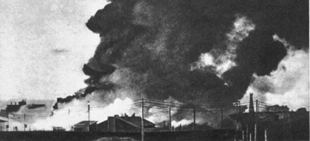 Горят Бадаевские склады. 8 сентября 1941