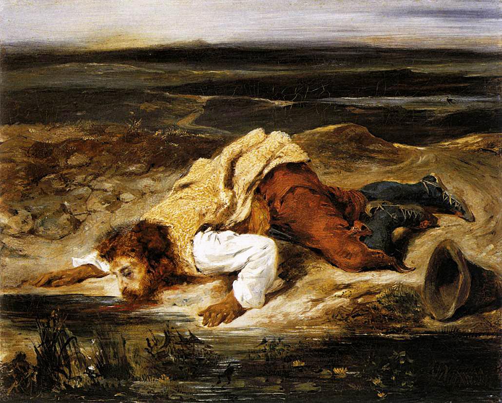Эжен Делакруа. Смертельно раненый вор утоляет жажду. 1825