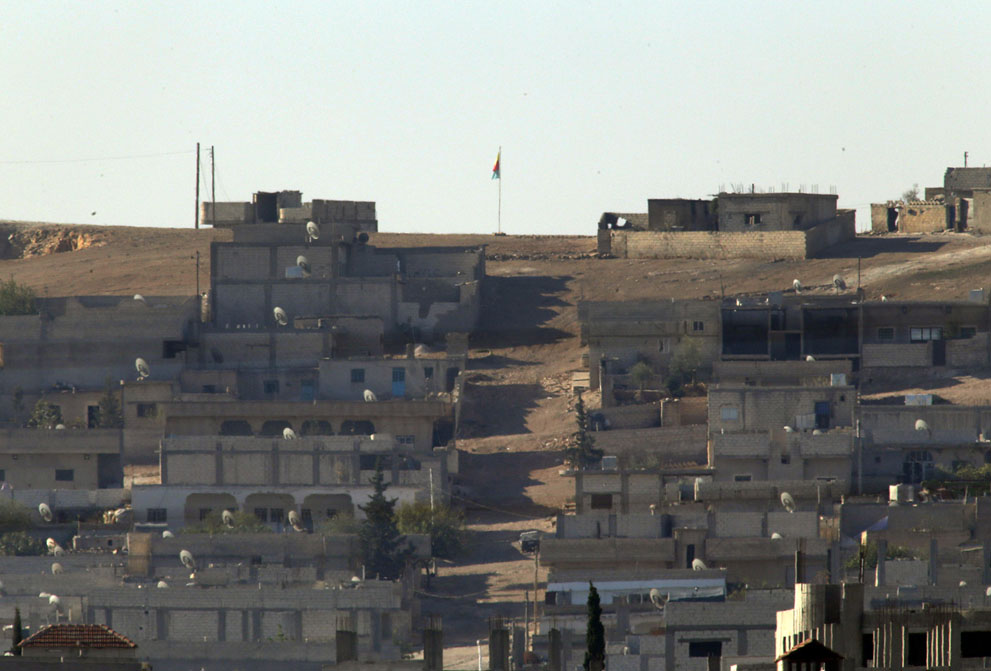 Флаг Курдской Рабочей партии в Кобани