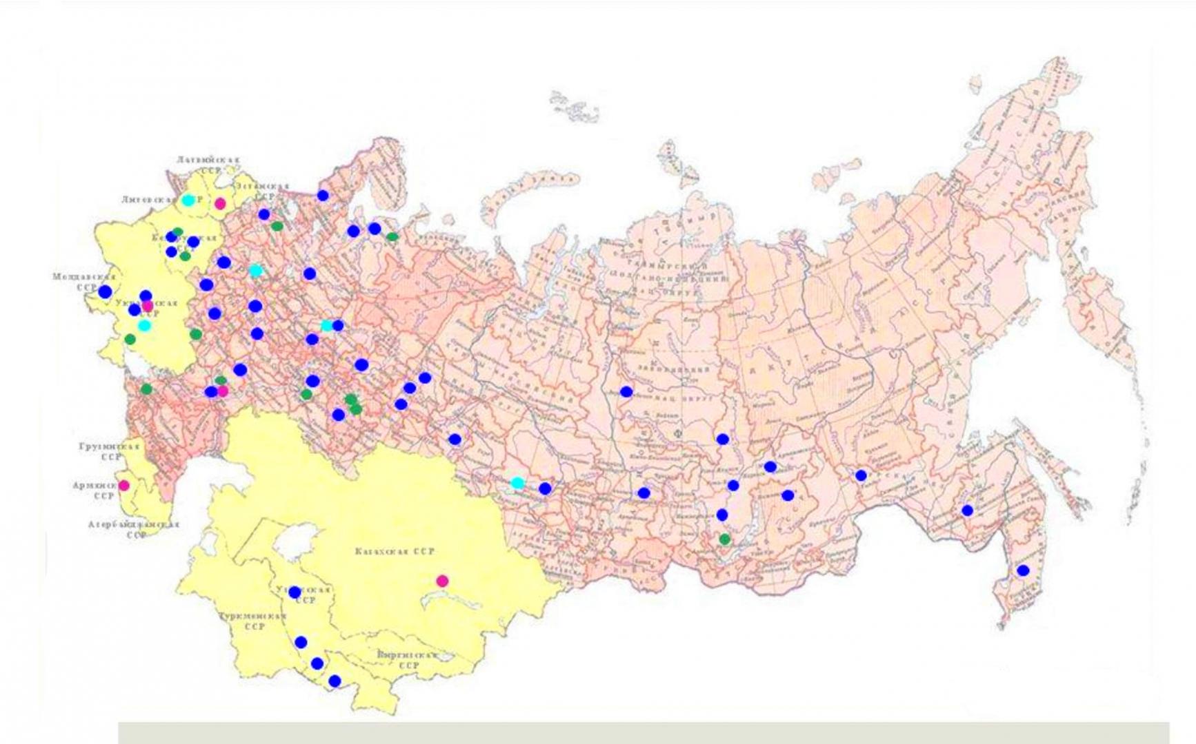 Рис. 3. Биоиндустрия в СССР. Гидролизные заводы, производство БВК, лизина и ферментов на 1990 год