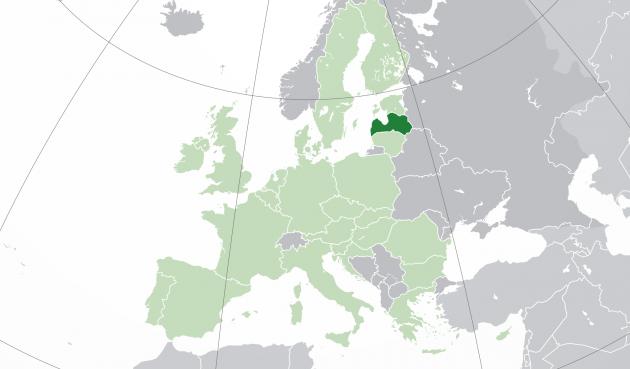 Латвия на карте