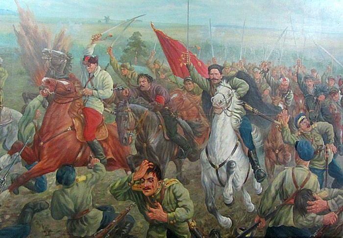 На этой картинке, если я не путаю, Чапаев громит Забайкальских казаков.