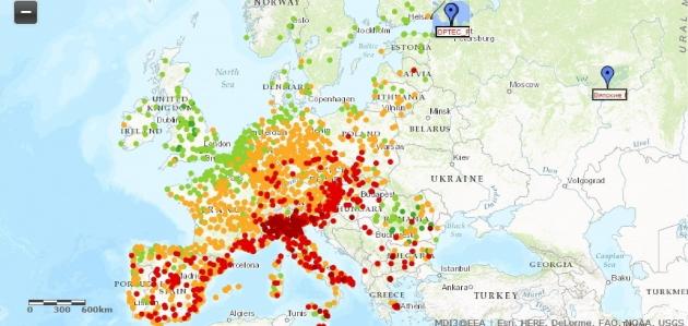 Рис. 2. Сети автоматического мониторинга приземного озона ЕС и ИОФ РАН-«ОПТЭК». В России государственный мониторинг озона с оперативным доступом населения к данным существует только в Москве