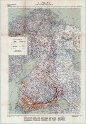 Немецкая карта Финляндии 1941 года. Сплошной зелёной линией обозначена граница Финляндии и СССР по состоянию на март 1941 года