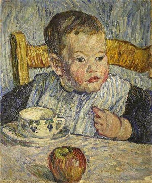 Петр Кончаловский. Париж. Мальчик с яблоком. (Портрет Михаила Петровича Кончаловского). 1908