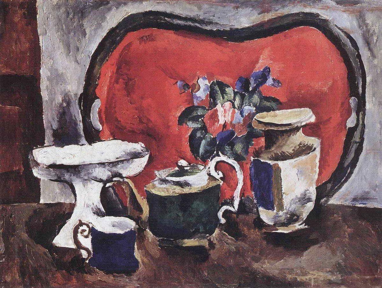 Петр Кончаловский. Натюрморт с красным подносом. 1910