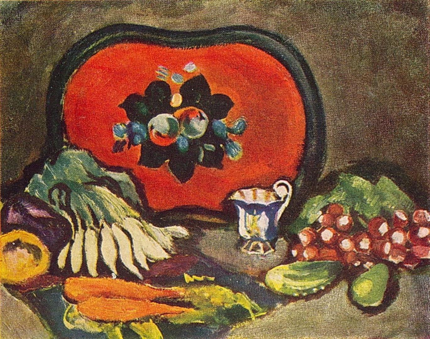 Петр Кончаловский. Натюрморт. Поднос и овощи. 1910