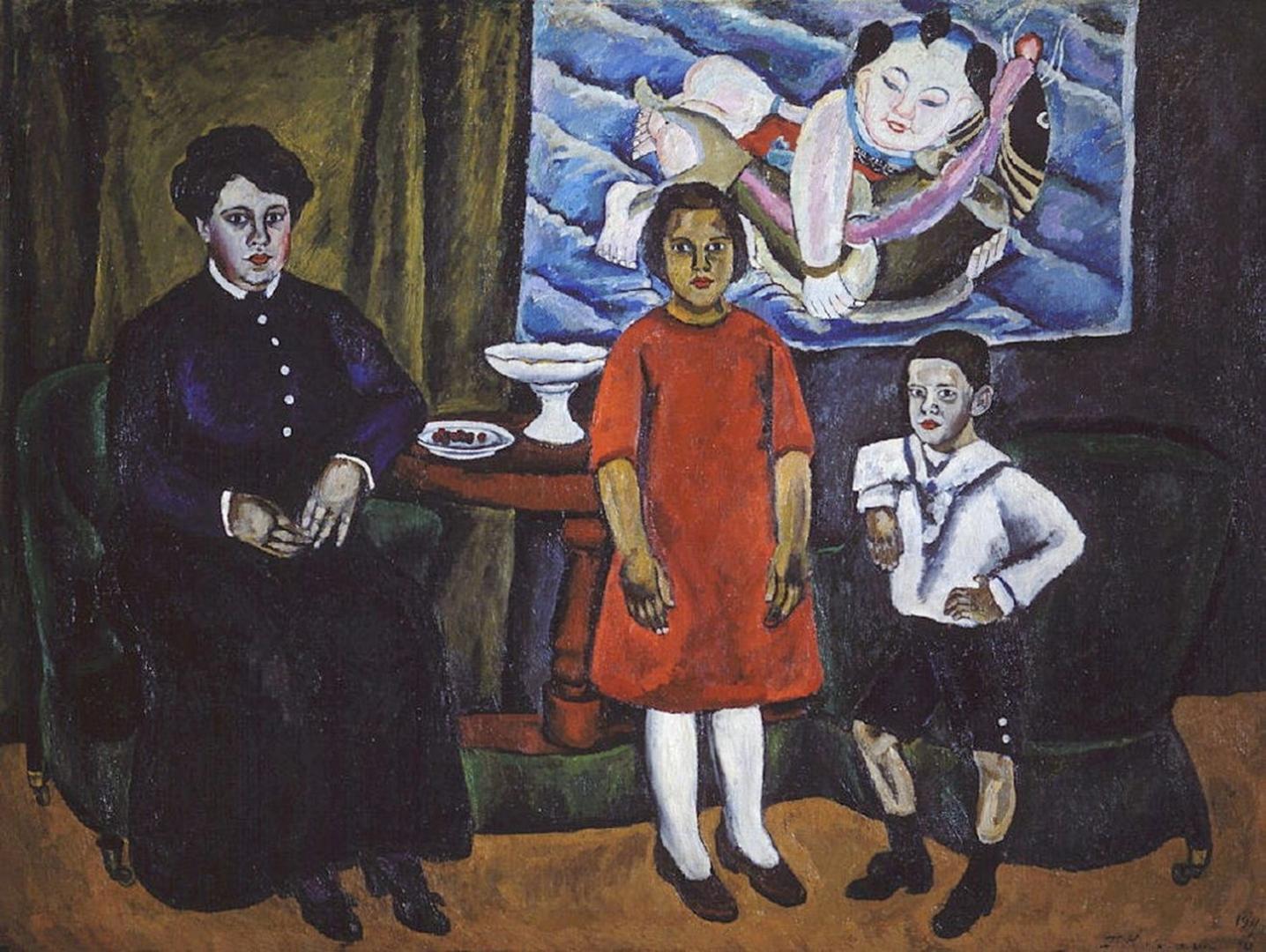 Петр Кончаловский. Семейный портрет (на фоне китайского панно). 1911