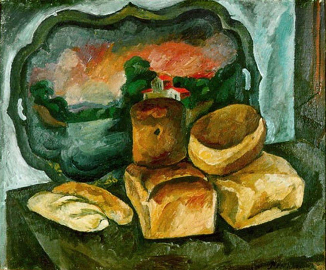 Петр Кончаловский. Хлебы на фоне подноса. 1912