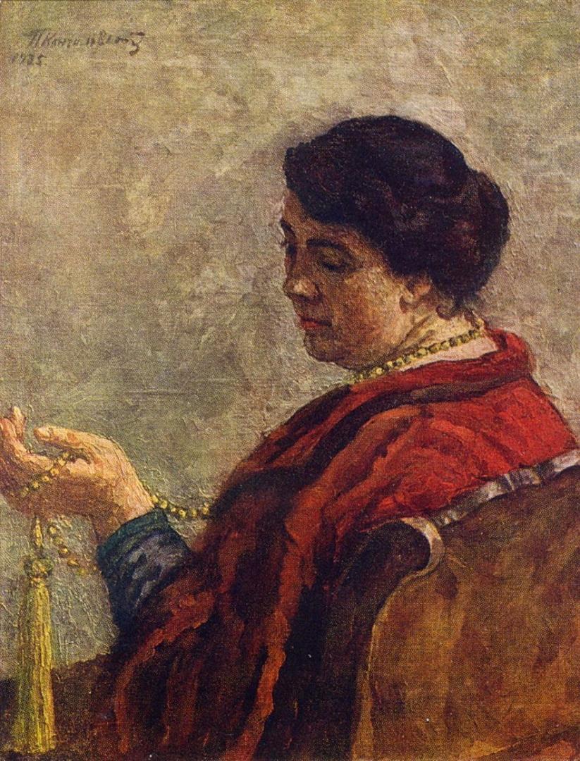 Петр Кончаловский. Портрет Ольги Васильевны Кончаловской, жены художника (в красном бусами). 1925