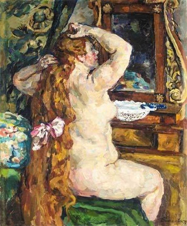 Петр Кончаловский. Натурщица с рыжими волосами у зеркала. 1928