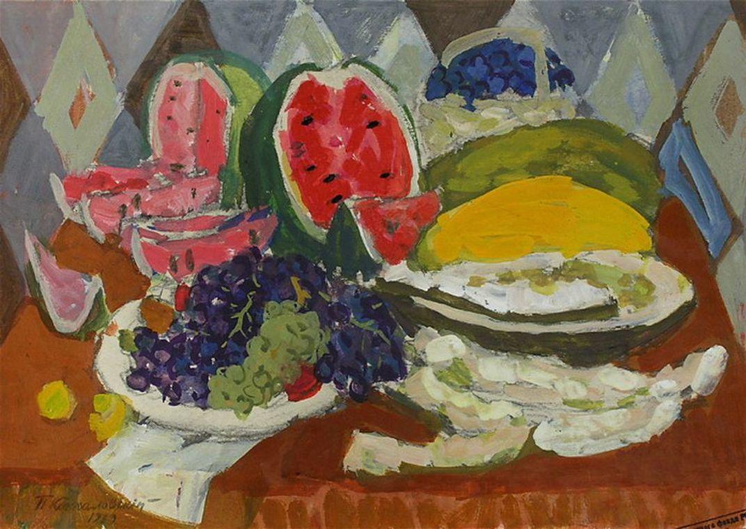 Петр Кончаловский. Натюрморт с фруктами и арбузом. 1929
