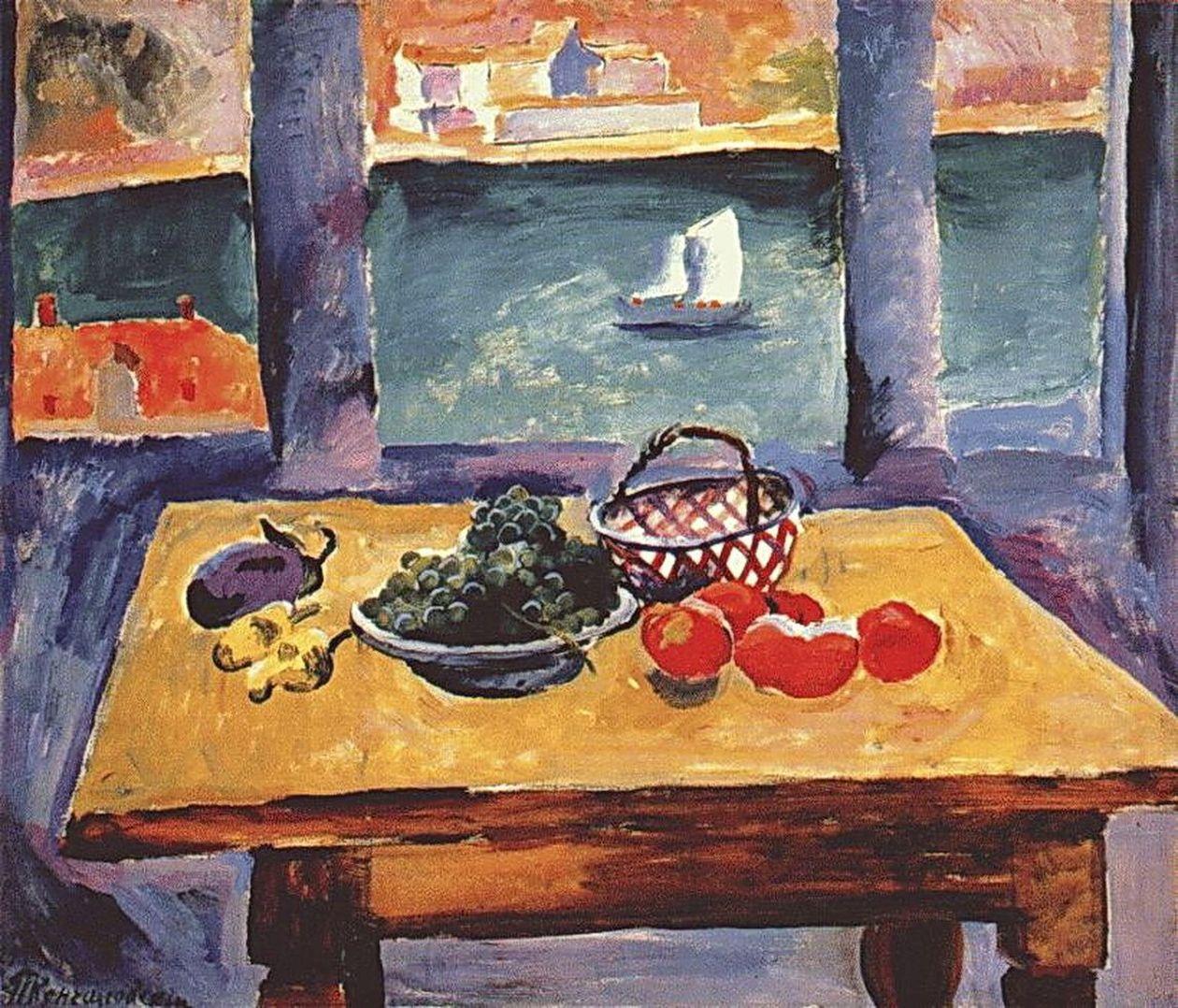 Петр Кончаловский. Балаклава. Окно. (Виноград на столе). 1929