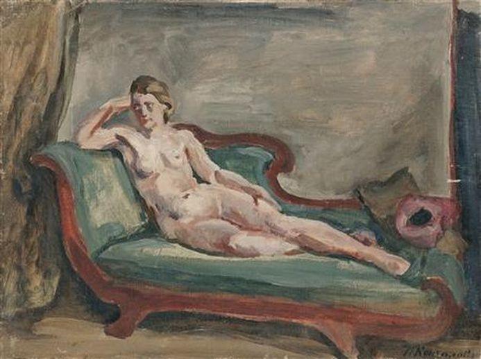 Петр Кончаловский. Натурщица. Этюд для картины Женщина на диване. 1930