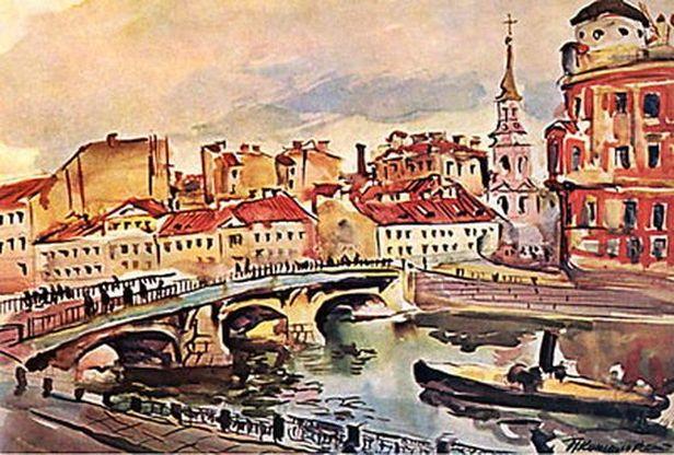Петр Кончаловский. Ленинград. Мост Белинского. Церковь Симеона и Анны. 1931