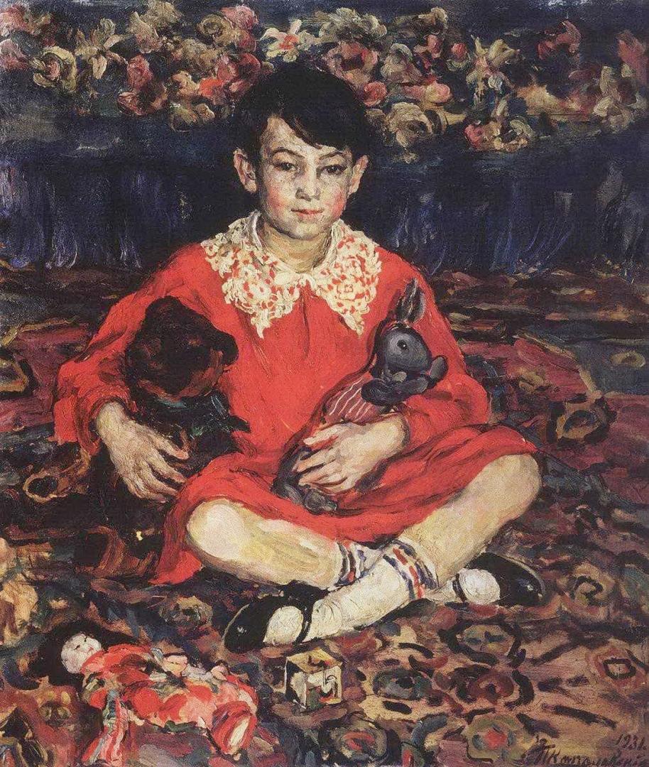 Петр Кончаловский. Портрет девочки, сидящей на пестром ковре с игрушками. (Камушки Бенедиктовой). 1931