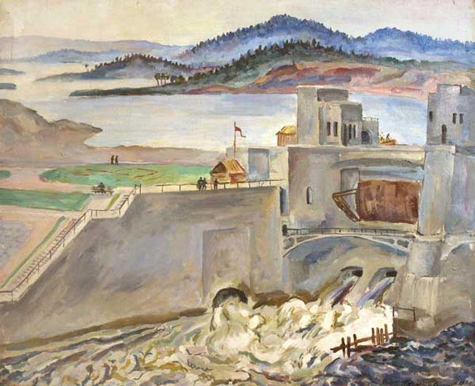Петр Кончаловский. Мурманск. Туломстрой. Водосброс. 1936
