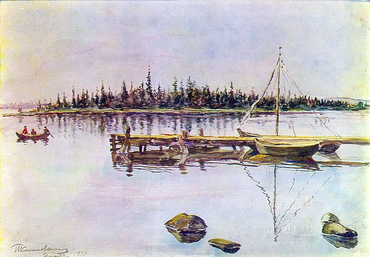 Петр Кончаловский. Озеро Имандра. Осмоление сетей. 1937