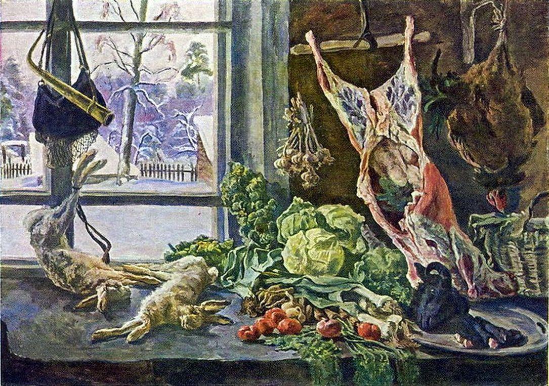 Петр Кончаловский. Натюрморт. Мясо, дичь и брюссельская капуста на фоне окна. 1937