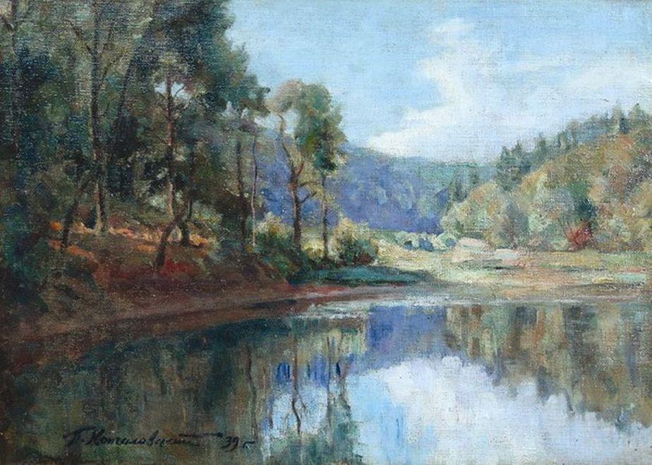 Петр Кончаловский. Вечер. Пейзаж с озером. 1939
