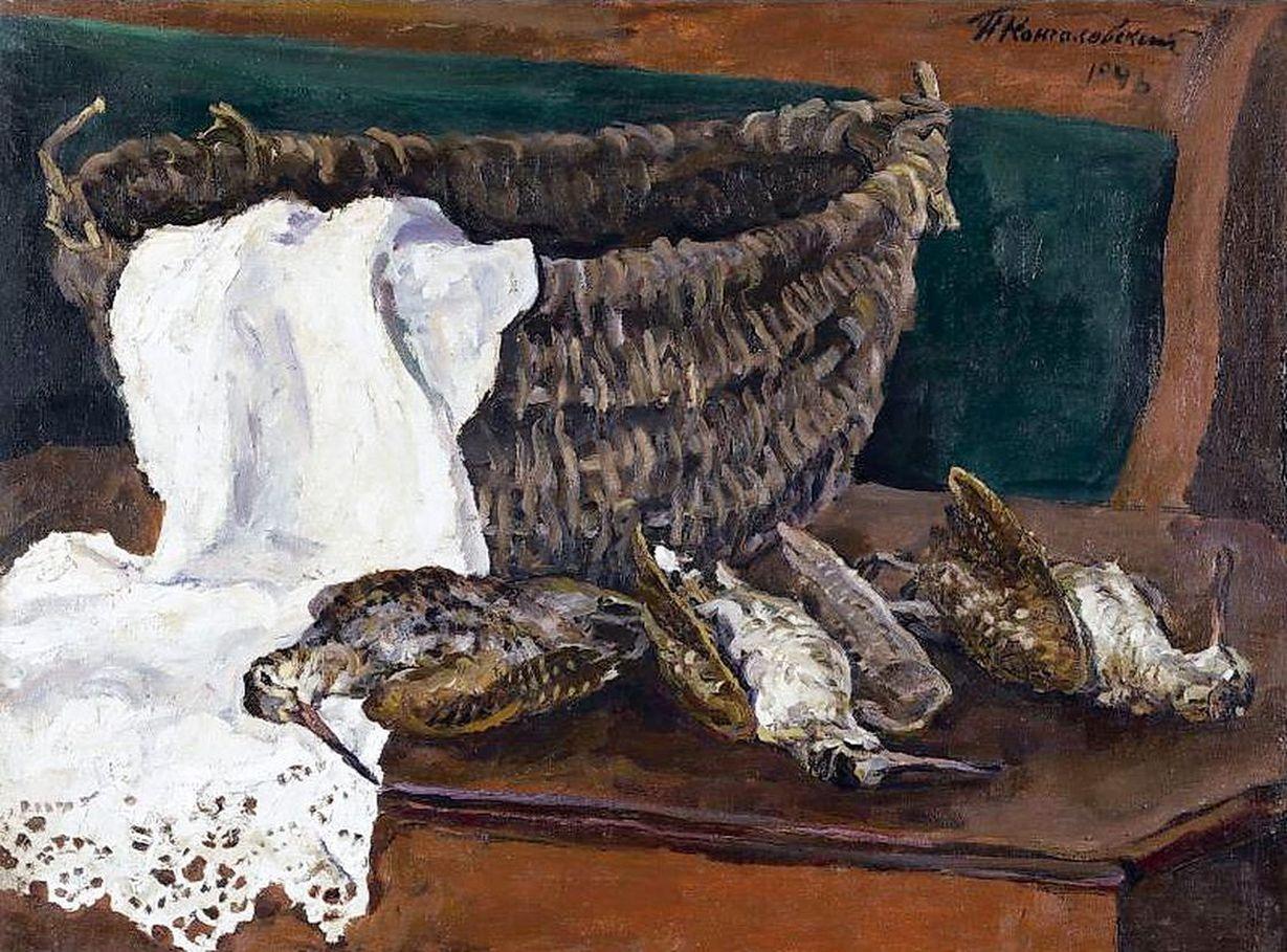 Петр Кончаловский. Натюрморт с вальдшнепом и корзиной. 1946
