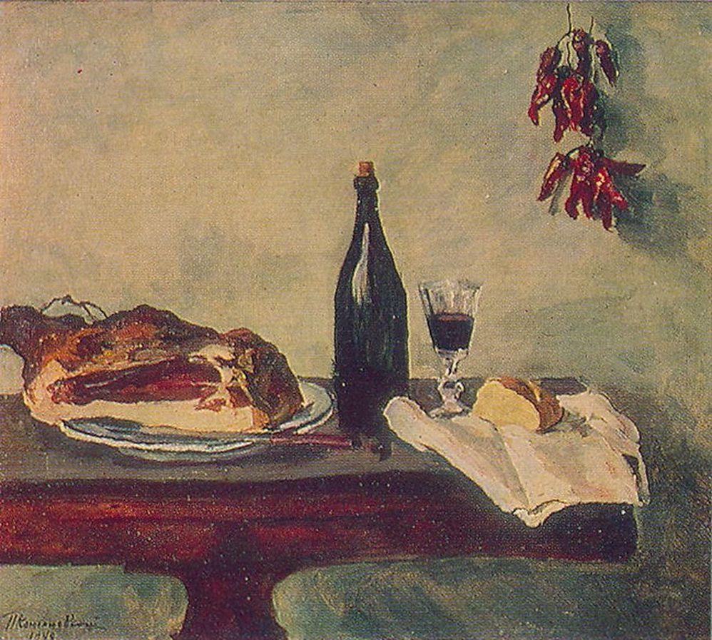 Петр Кончаловский. Натюрморт. Хлеб, ветчина и вино. 1948