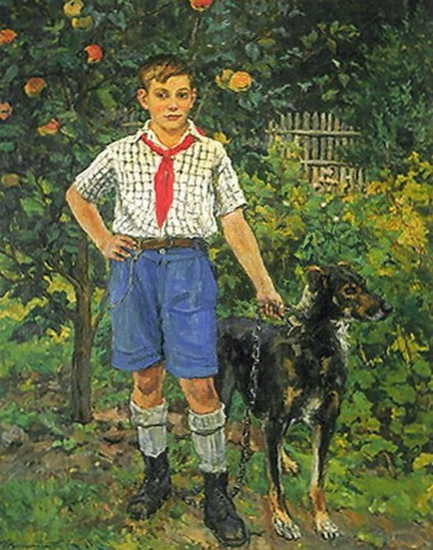 Петр Кончаловский. Андрон с собакой. 1949