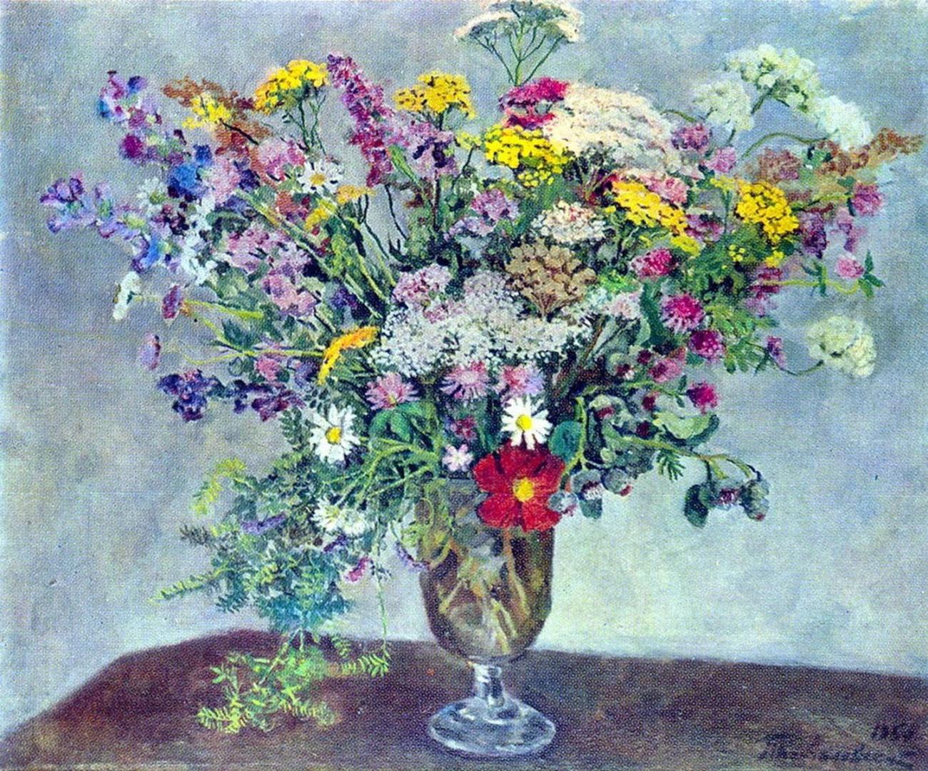 Петр Кончаловский. Натюрморт. Полевые цветы. 1950