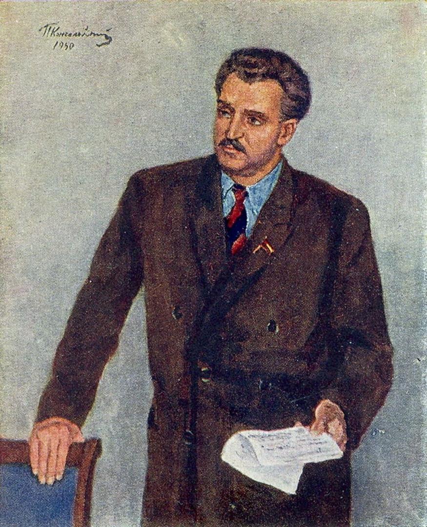 Петр Кончаловский. Портрет писателя Константина Михайловича Симонова. 1950