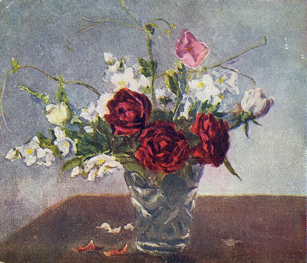 Петр Кончаловский. Натюрморт. Красные розы. 1952