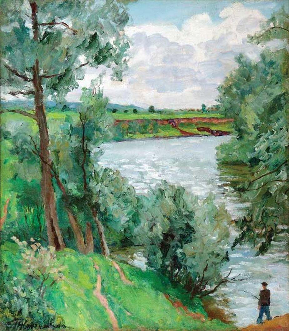 Петр Кончаловский. На реке Протве. Рыбак. 1953
