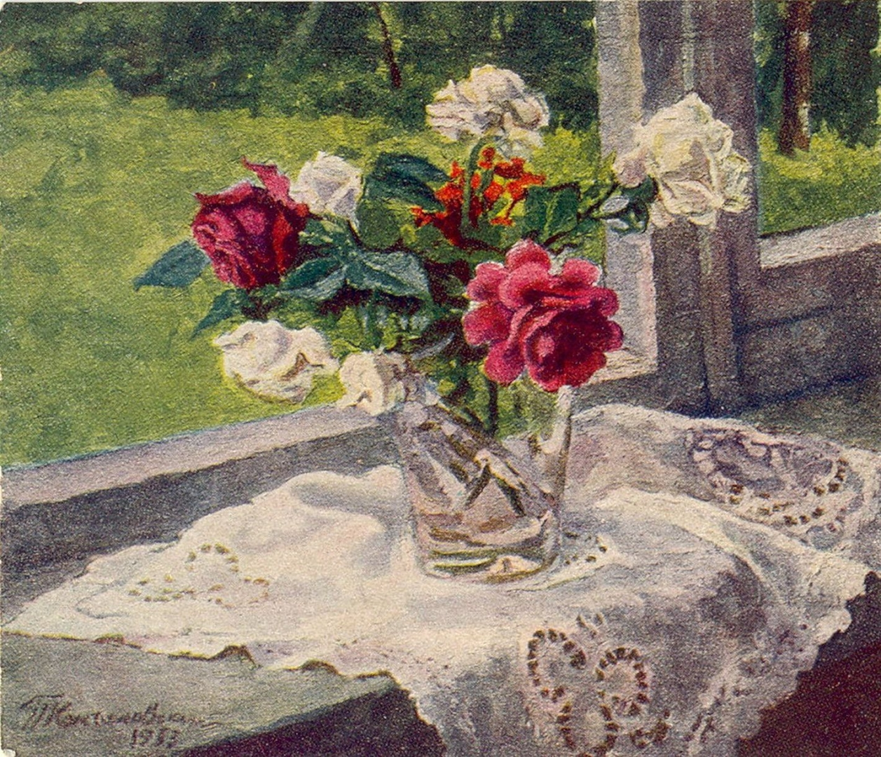 Петр Кончаловский. Розы у окна. 1953