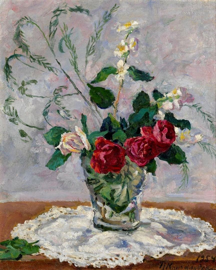 Петр Кончаловский. Натюрморт с розами, жасмином и аспарагусом. 1954
