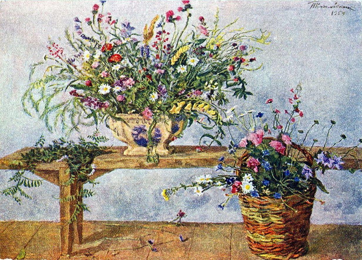 Петр Кончаловский. Натюрморт. Цветы на скамейке. 1954
