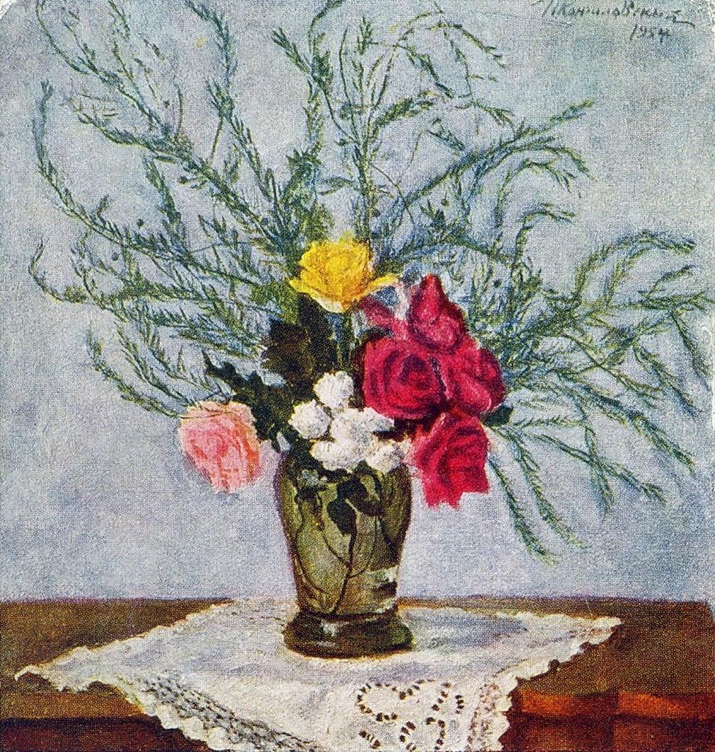 Петр Кончаловский. Розы и аспарагус. 1954