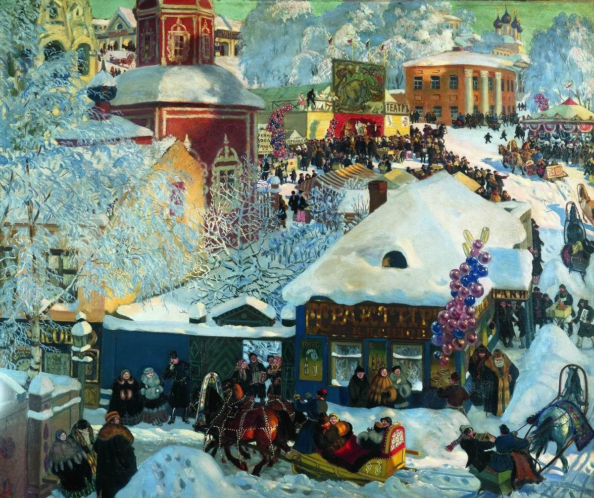Борис Кустодиев. Зима. Масленичное гулянье. 1919