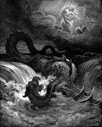 Густав Доре . Убийство Левиафана. Гравюра. 1865