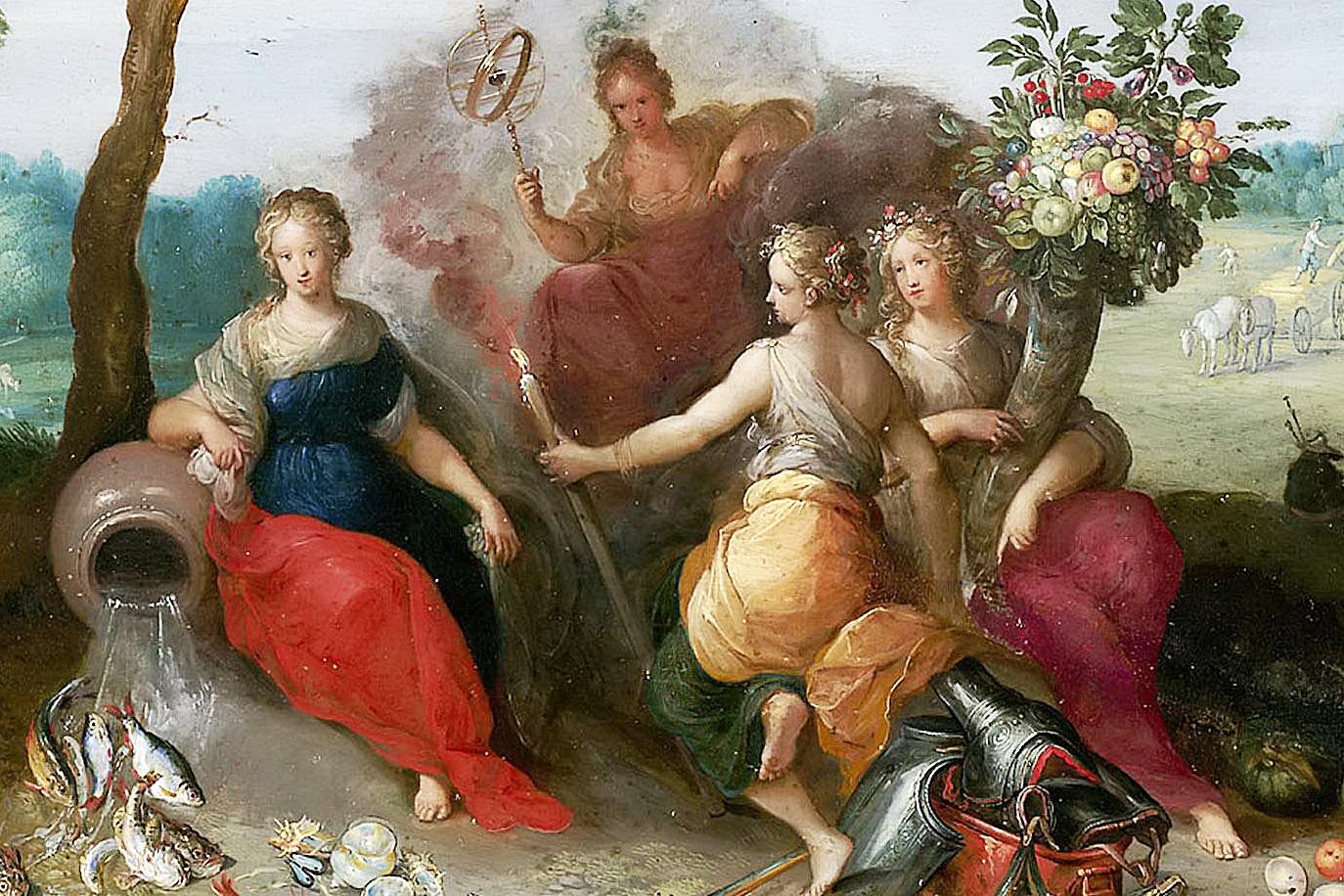 Ян Брейгель Младший. Аллегория четырех стихий. Вода, Воздух, Огонь и Земля (фрагмент). 1630-е